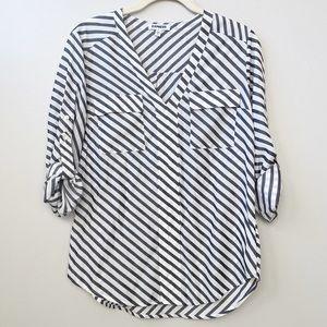 EXPRESS White & Gray Stripe Roll-Tab Sleeve Tunic
